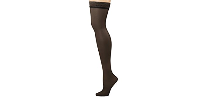 Hanes Women's Silk Thigh High Socks - Sophisticated Long Laced Stocking Socks