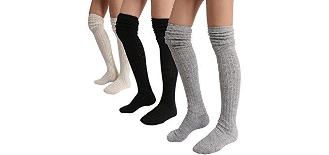 Style Gaga Women's Knee High Wool Socks - Chunky Wool Knee High Boot Socks