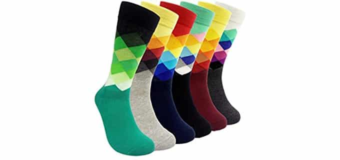 HSELL Unisex Rainbow Dress Socks - Cotton Dress Socks With Rainbow Diamonds