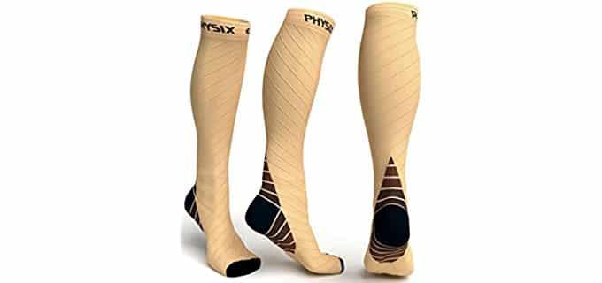 Physix Gear Sport Unisex Stamina Socks - Knee High Running Stamina Compression Socks