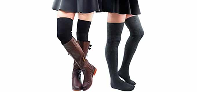 Kayhoma Women's Thigh High Socks - Rib Cable Knit Cotton Thigh High Socks