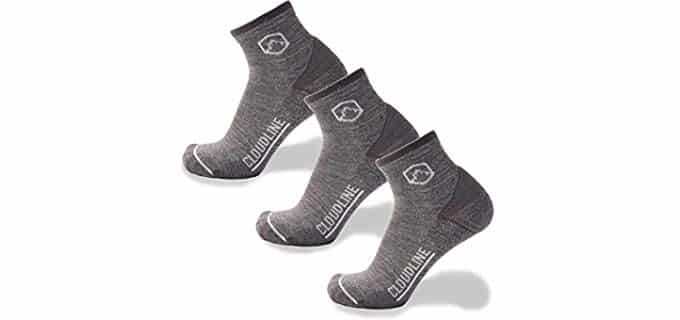 CloudLine Unisex Wool Athletic Socks - Quarter Length Wool Running Socks
