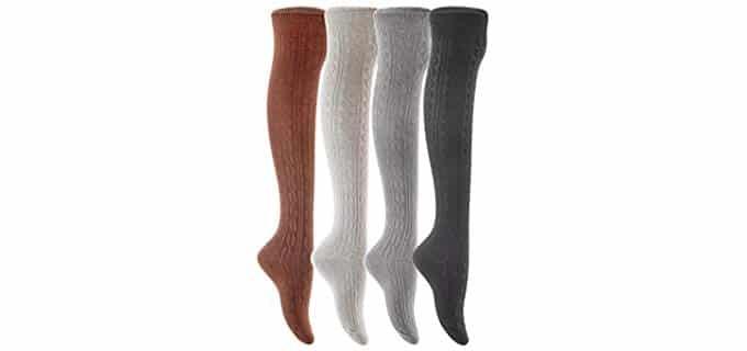 Meso Women's 4 Pairs - Knit Thigh High Sock Pairs