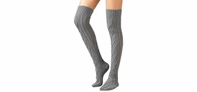 SherryDC Women's Cable Knit - Crochet Knit Socks