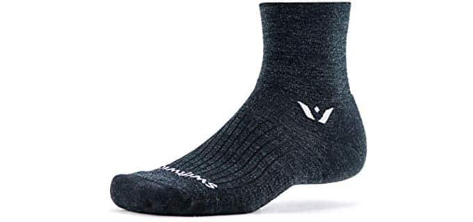 Swiftwick Unisex Soft Wool Socks - Merino Wool Crew Length Running Socks