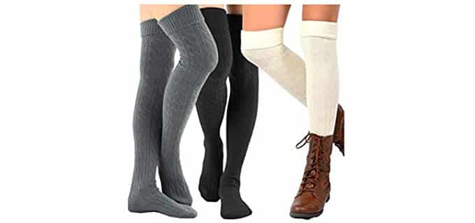TeeHee Unisex Fashion - Knee High Thick Socks