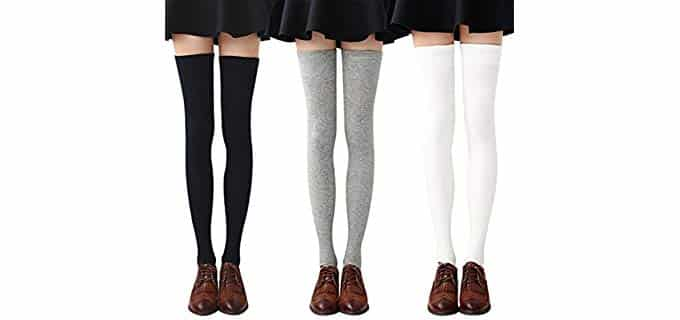 Chalier Women's Cotton - Thigh High Socks for Boots