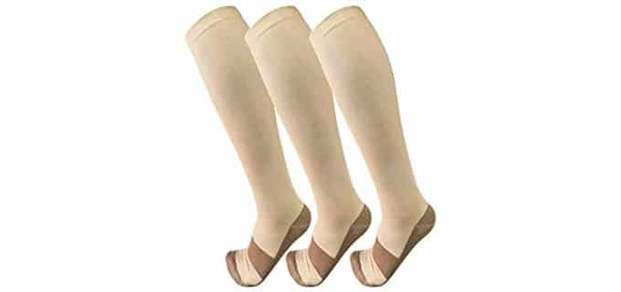 Copper Compression Unisex 3 Pairs - Compression Socks for Varicose Veins