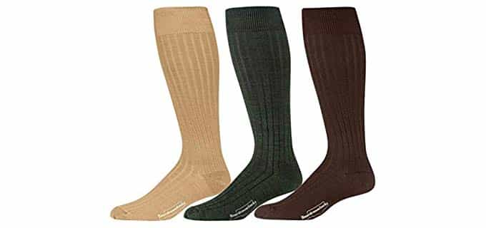 BoardroomSocks Unisex Merino Wool Ribbed - Reinforced Wool Knee High Boot SocksKnee High Wool Socks