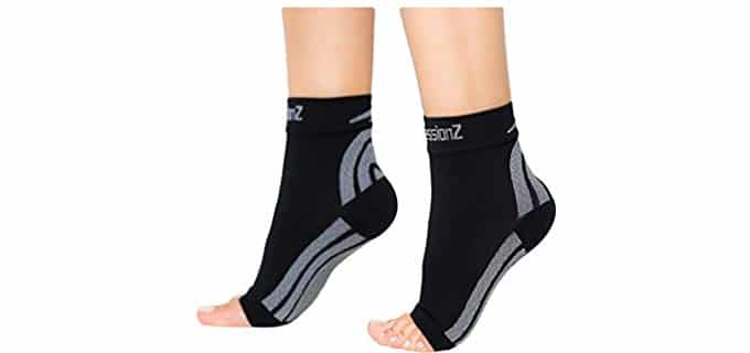 CompressionZ Unisex High Ankle Compression Socks - Graduated Compression Socks for Foot Pain