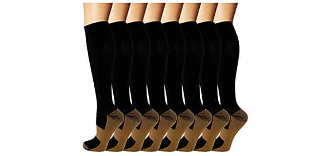 Iseasoo Unisex Copper Compression - Socks for Work Boots