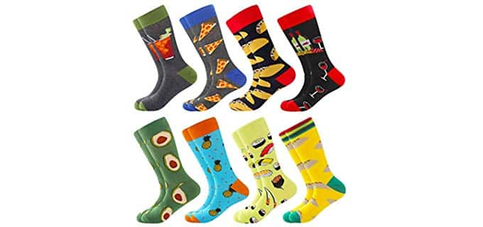 Bisousox Men's Patterened - Fun Colorful Dress Socks