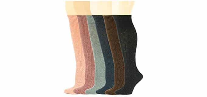 Sumona Unisex Cable Knit - Thigh High Wool Socks