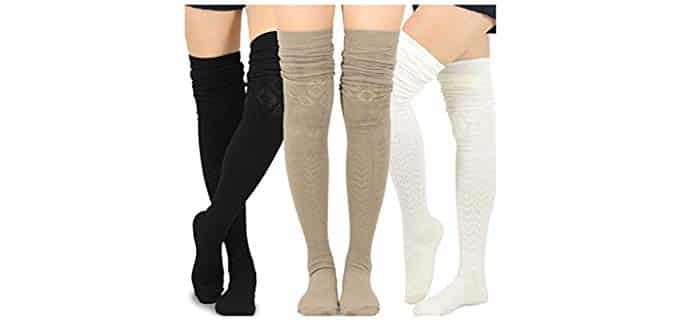 TeeHeeSocks Unisex Cotton - Extra Long Thigh High
