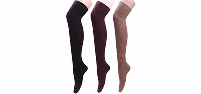 Tintao Women's Thick - Thigh High Wool Socks