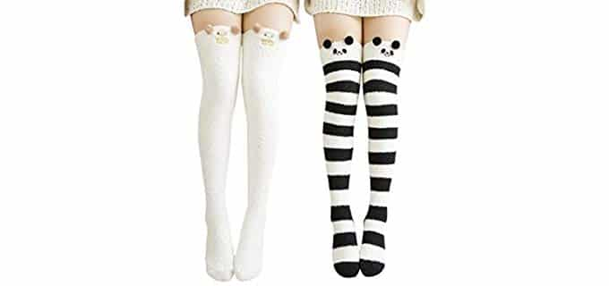 Wander G Unisex Fuzzy - Thigh High Extra Long Socks