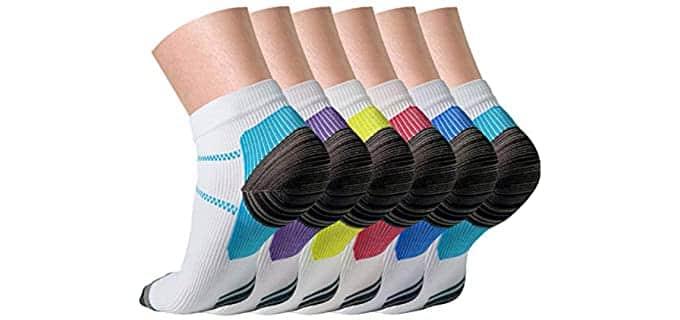 QUXIANG Unisex Reinforced Heel - Lightweight Flat Feet Socks