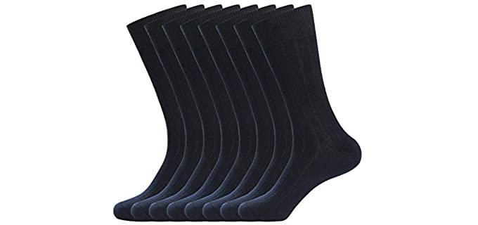 WANDER Mens's Rib Cotton - Classic Dress Socks