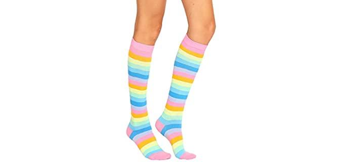 Benefeet Sox Women's Triple Rainbow - Striped Gardening Socks