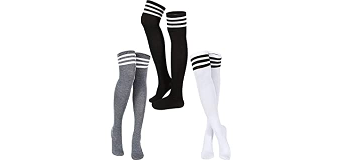 Satinior Unisex Triple Stripe - Thigh High Athletic Style Socks