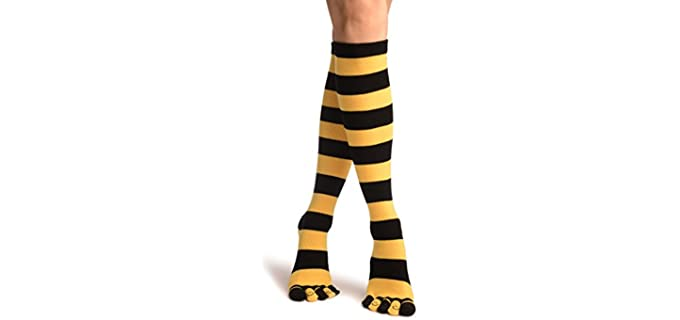 LissKiss Unisex Yellow and Black Stripe - Over the Knee Toe Socks