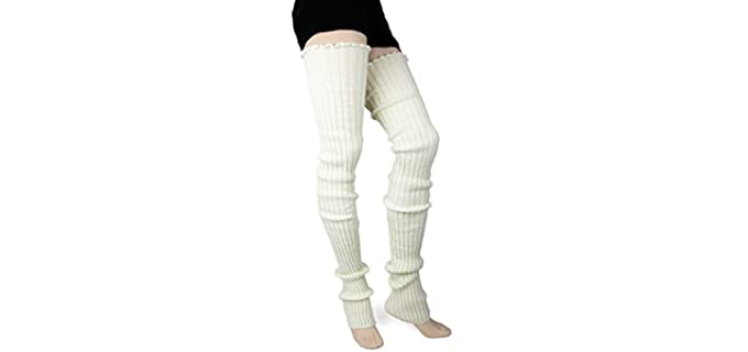 Foot Traffic Unisex Cable Knit - Thigh High Synthetic Wool Socks