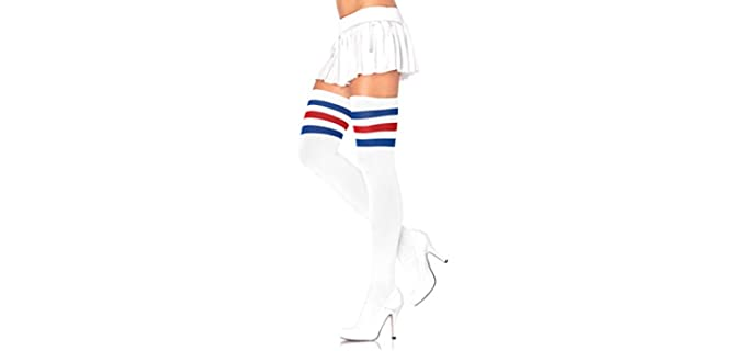Leg Avenue Unisex Thletic - Three Stripe Thigh High Socks