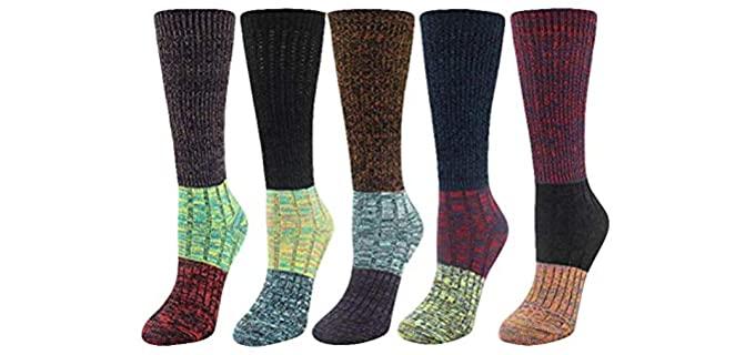 Santwo Men's Color Block - Colorfull Crew Dress Socks