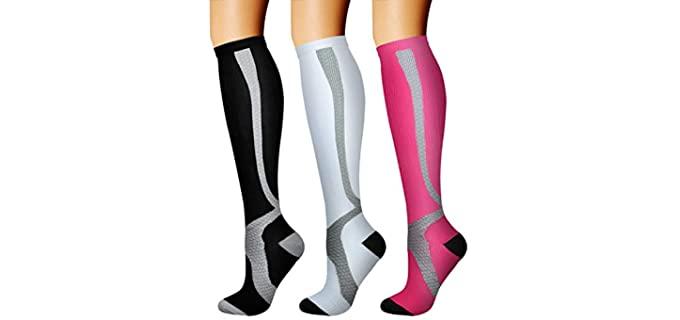 CHARMKING Unisex Running - Compression Socks