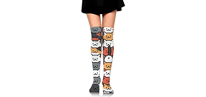 HaiRui YunDa Women's Cartoon Cat - Over Thigh High Socks