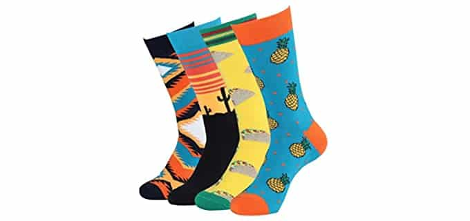 Cotton Idea Men's Colorful - Patterned Dress Novelty Socks