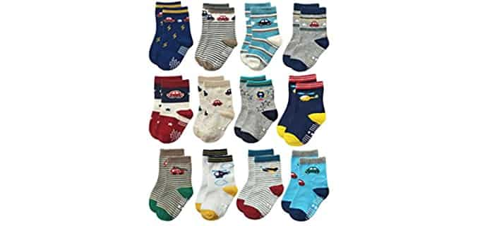 RATIVE Boy's RB-71112 - Crew Socks With Grips