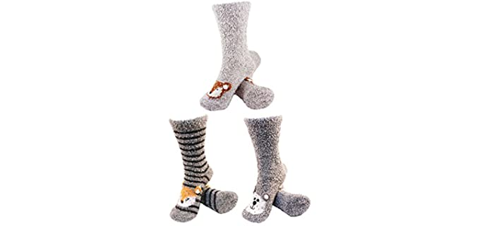 BambooMN Women's Warm - Animal Face Winter Socks