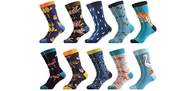 WeciBor Men's Combed Cotton - Cute Animal Socks Pack