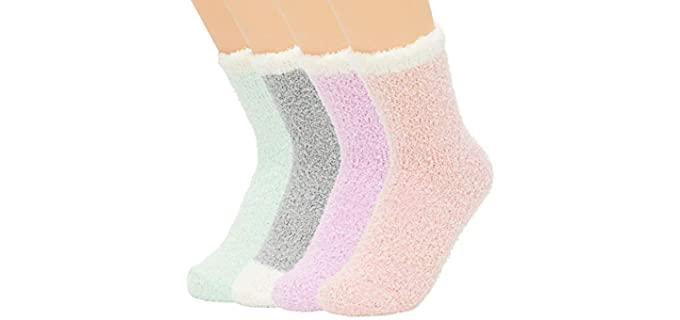 Zando Women's Microfiber - Warm Fuzzy Grip Socks