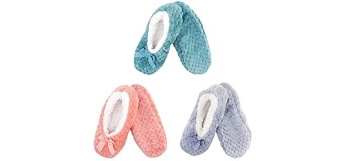 BambooMN Women's Adult - Fuzzy Ballerine Slippers