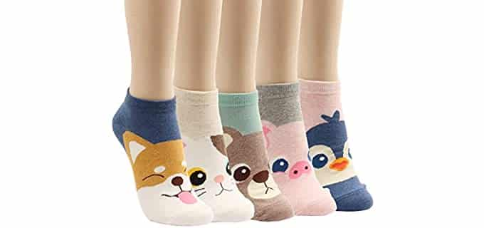 donoba Women's Low-Cut - Animal Design Socks
