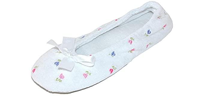 isotoner Women's Embroidered - Ballerina Slipper Socks