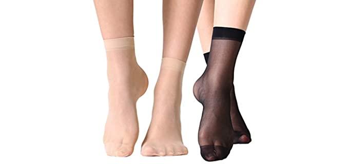 MANZI Women's 12-Pair - Shiny Sheer Socks