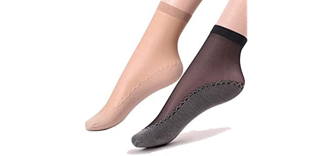 Ueither Women's Nylon - 12 Pair Sheer Socks