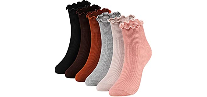 SATINIOR Women's Solid Color - Ruffle Socks