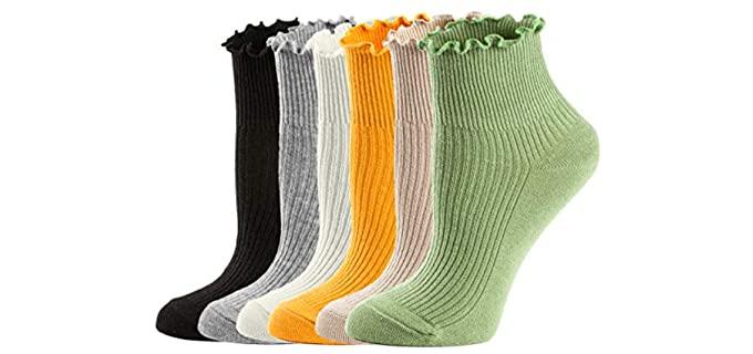 Mcool Mary Women's Low Cotton - Lettuce Ruffle Socks