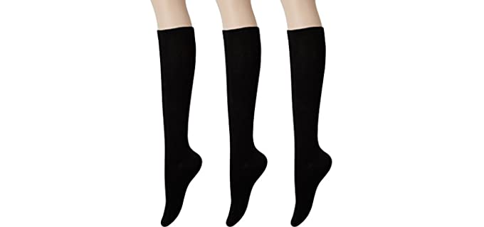 Kony Women's Cotton - Casual Knee High Socks