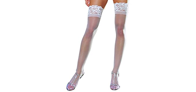 Dreamgirl Women's Lace-Top - Sheer Stockings